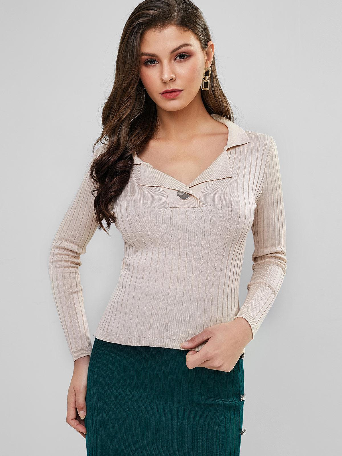 Turndown Collar Plain Ribbed Slim Sweater