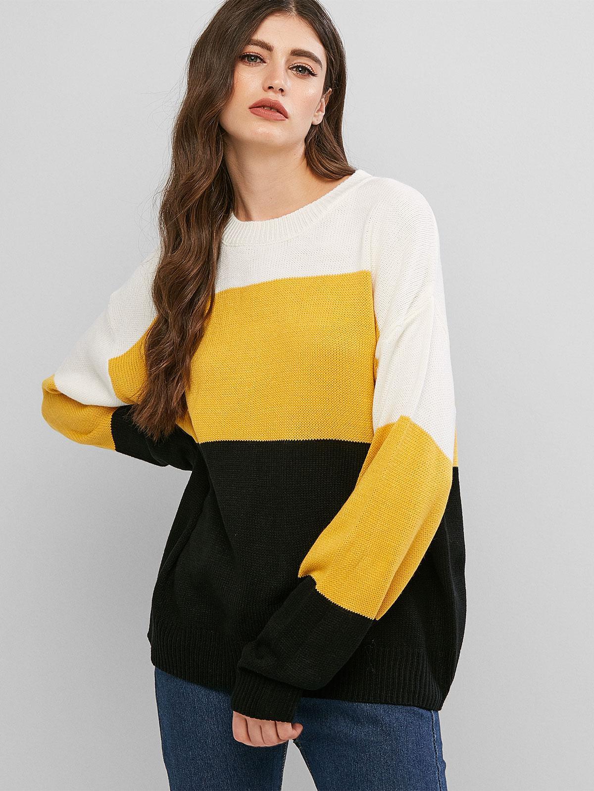 Colorblock Loose Crew Neck Sweater