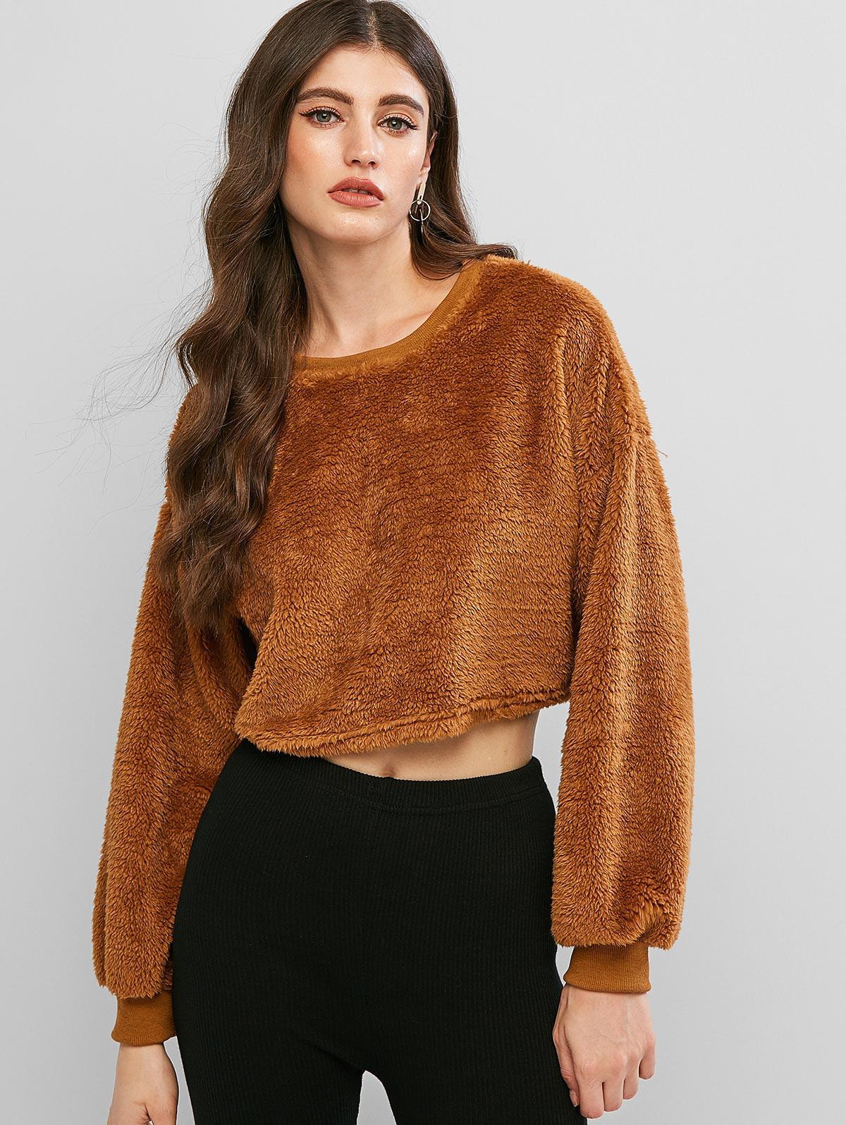 Drop Shoulder Fluffy Teddy Crop Sweatshirt