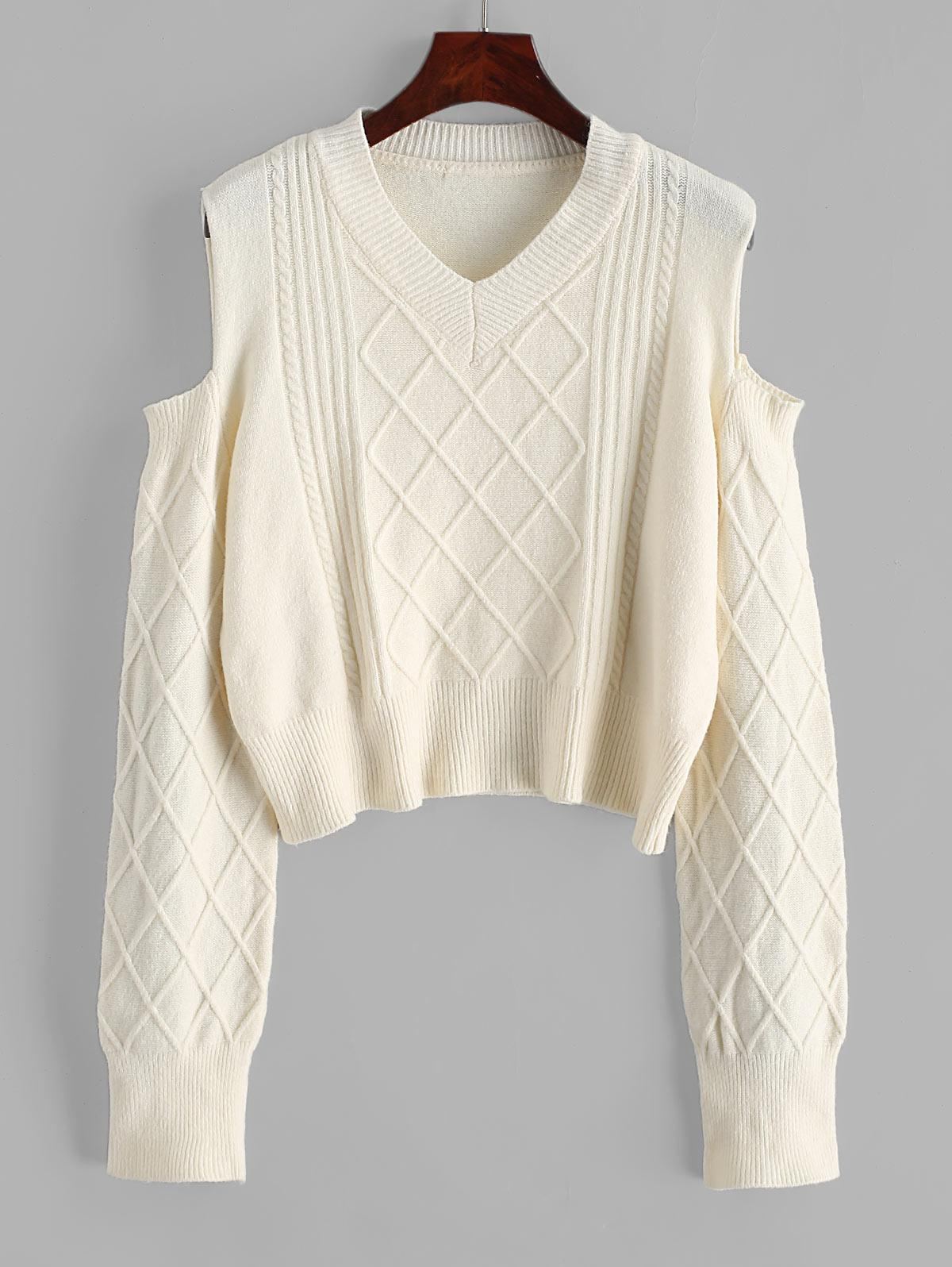 V Neck Cable Knit Cold Shoulder Sweater