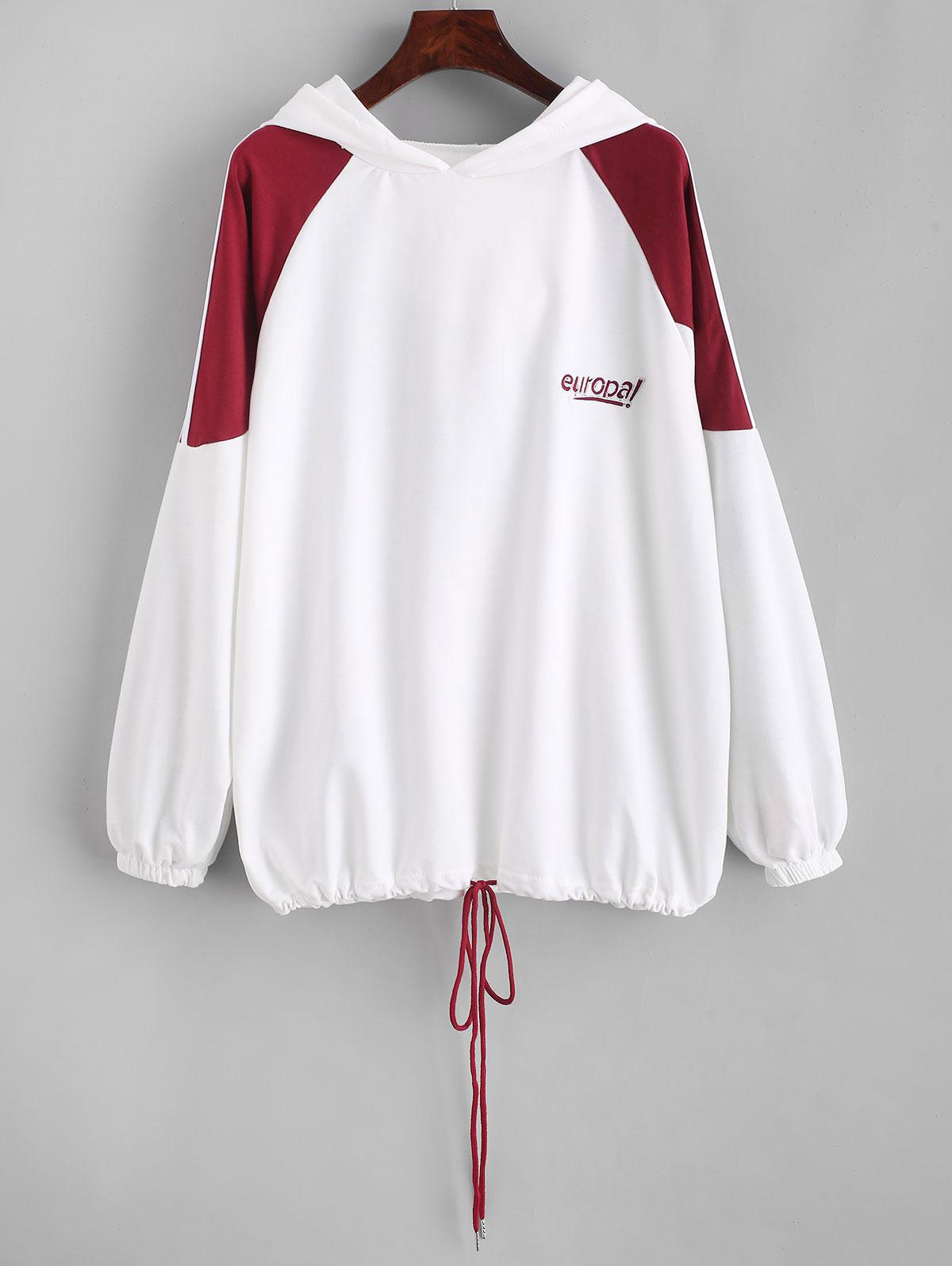 Drawstring Racing Stripes Europa Embroidered Hoodie