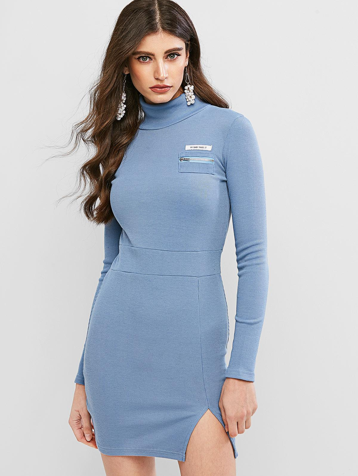 Letter Zip Embellished Slit Bodycon Dress