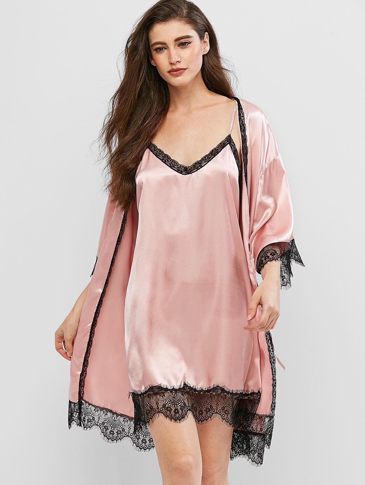 Lace Insert Drop Shoulder Satin Robe with Cami Dress