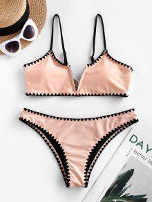 Whip Stitch Trim Padded Bikini Swimsuit