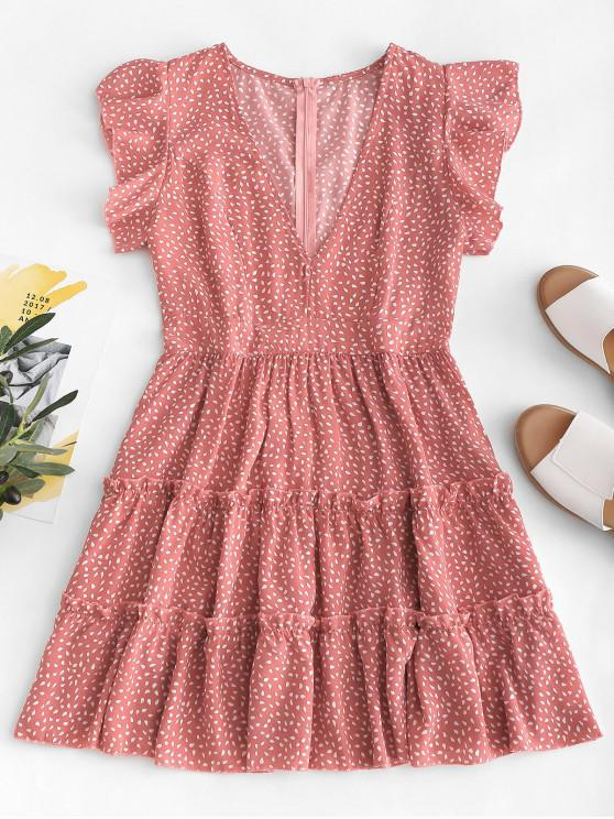 lady Raindrop Print Ruffles Mini Dress - KHAKI ROSE S