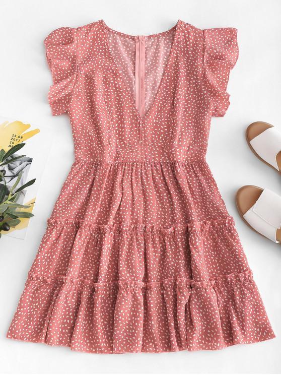 Mini vestido con volantes y estampado de gotas de lluvia - Rosa Khaki L