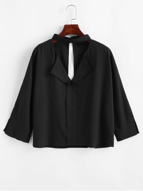 buy Choker Cutout Keyhole Back Batwing Blouse - BLACK XL