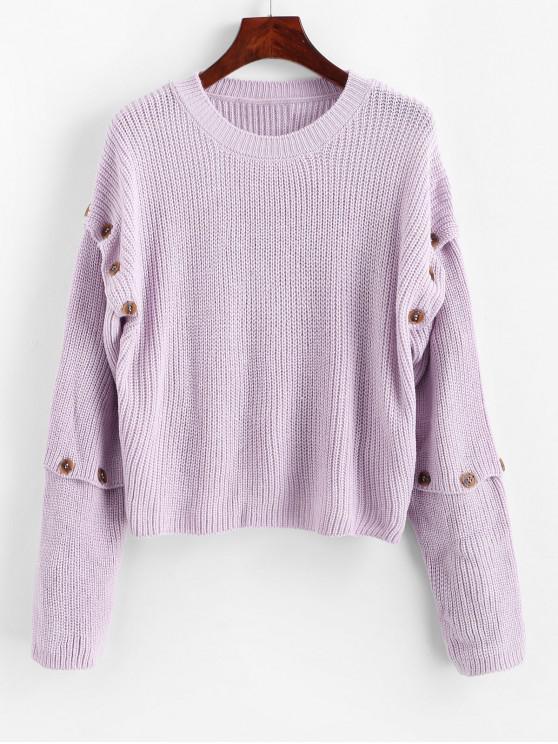 outfit Detachable Sleeve Buttoned Drop Shoulder Sweater - MAUVE L