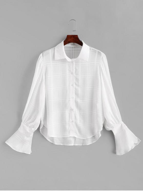 fashion Lantern Sleeve Chiffon Shirt - WHITE M