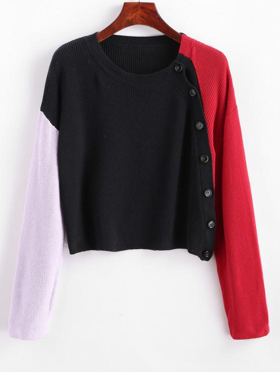 ladies Inclined Button Drop Shoulder Color Block Sweater - MULTI-A 2XL