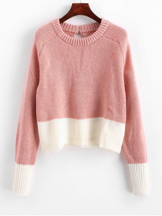 lady Two Tone Hook and Eye Keyhole Back Sweater - PIG PINK S