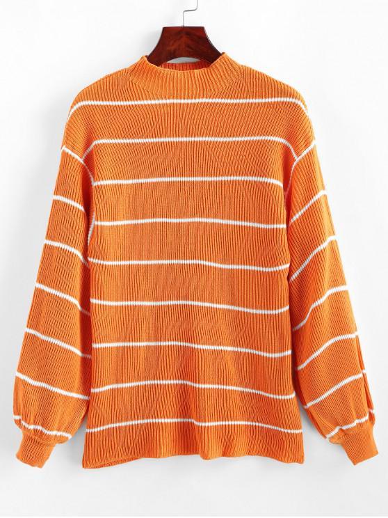 best Mock Neck Stripe Sweater - DARK ORANGE XL