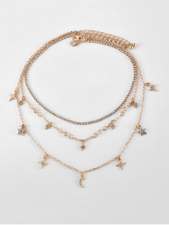 women's Full Rhinestone Star Moon Layered Chain Necklace - GOLD