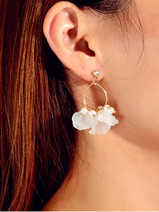 lady Floral Faux Pearl Circle Drop Earrings - GOLD