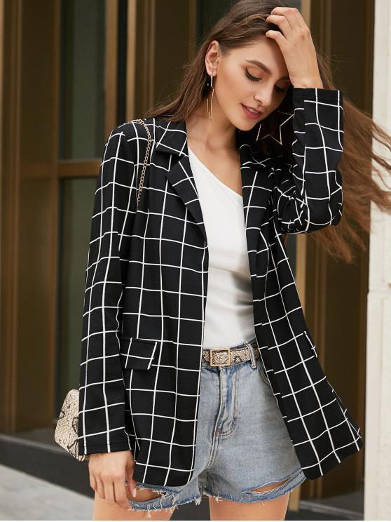 women ZAFUL Grid Lapel Open Front Blazer - BLACK S