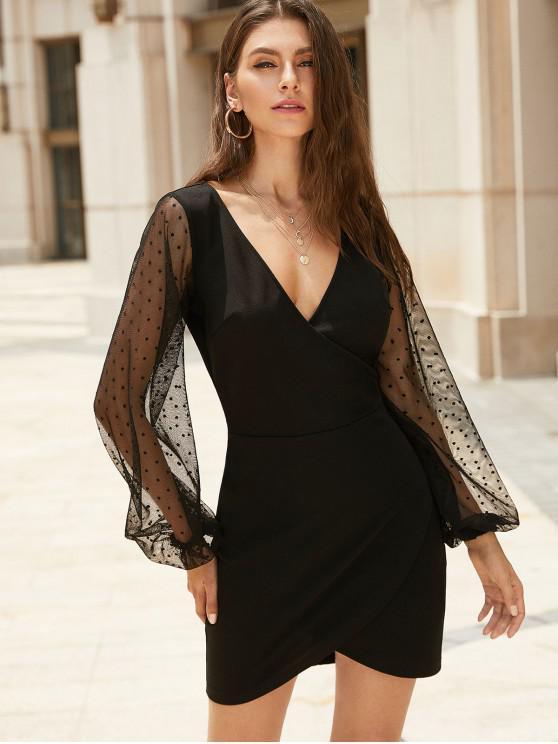 chic ZAFUL Dots Mesh Panel Mini Surplice Party Dress - BLACK M