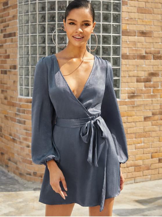ZAFUL Блестящее Платье Воротник стихарь - Синий-серый S