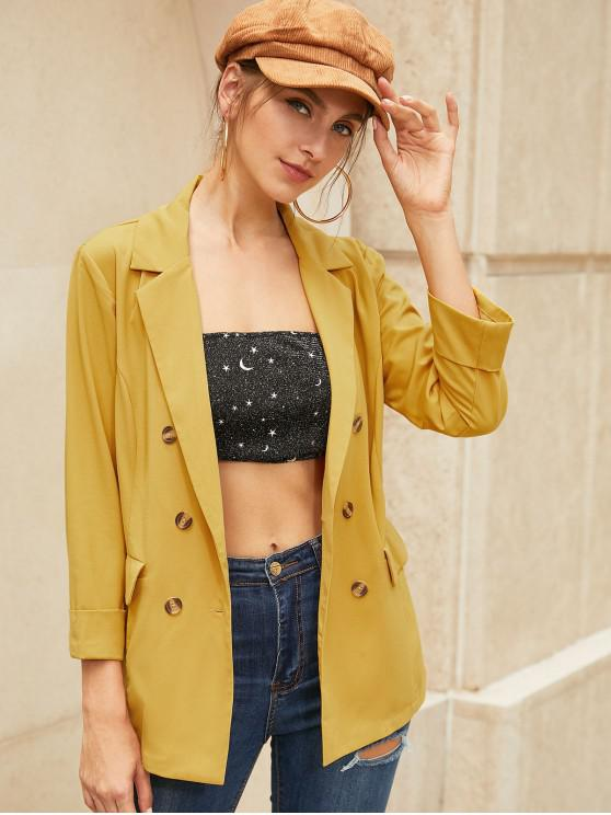 sale ZAFUL Double Breasted Cuffed Pocket Blazer - BEE YELLOW S