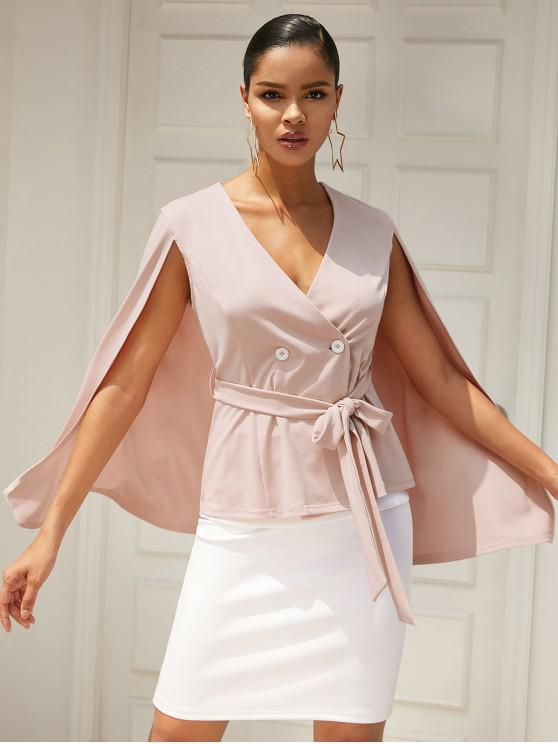 lady ZAFUL Belted Double Breasted Cape Blazer - PIG PINK S