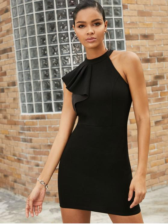 women ZAFUL Party Flounces Cold Shoulder Mini Bodycon Dress - BLACK M