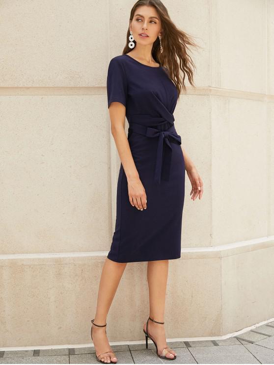 shops ZAFUL Twist-front Pencil Dress - CADETBLUE XL