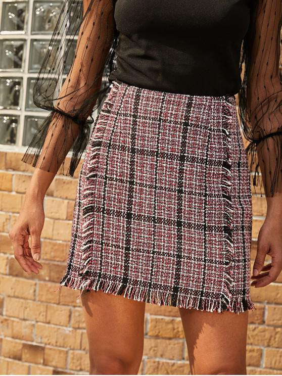 fancy ZAFUL Plaid Frayed Tweed Mini Skirt - RUBY RED S