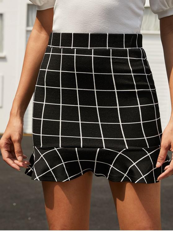 best ZAFUL Plaid Ruffle Hem Sheath Skirt - BLACK M