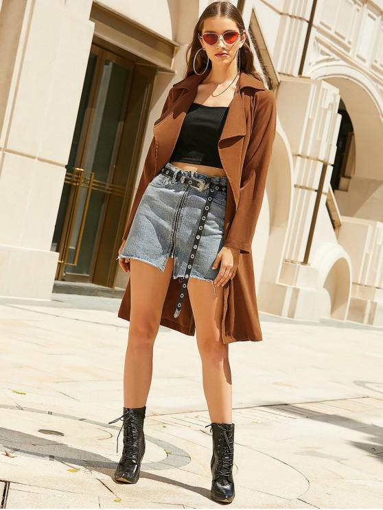 shops ZAFUL Lapel Back Slit Longline Wrap Trench Coat - SEPIA S