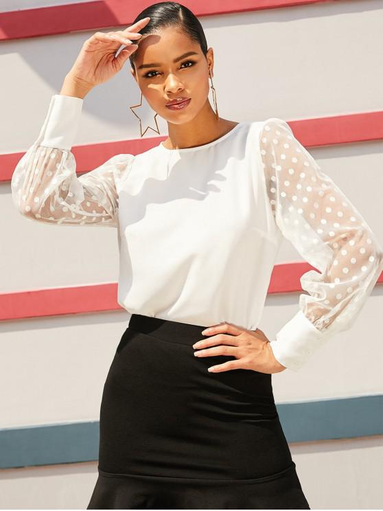 lady ZAFUL Sheer Mesh Sleeve Polka Dot Office Blouse - MILK WHITE XL