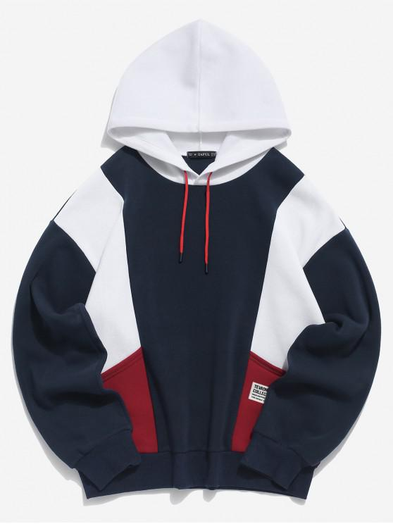 Colorblockパネル巾着プルオーバーフリースパーカー - カデブルー M