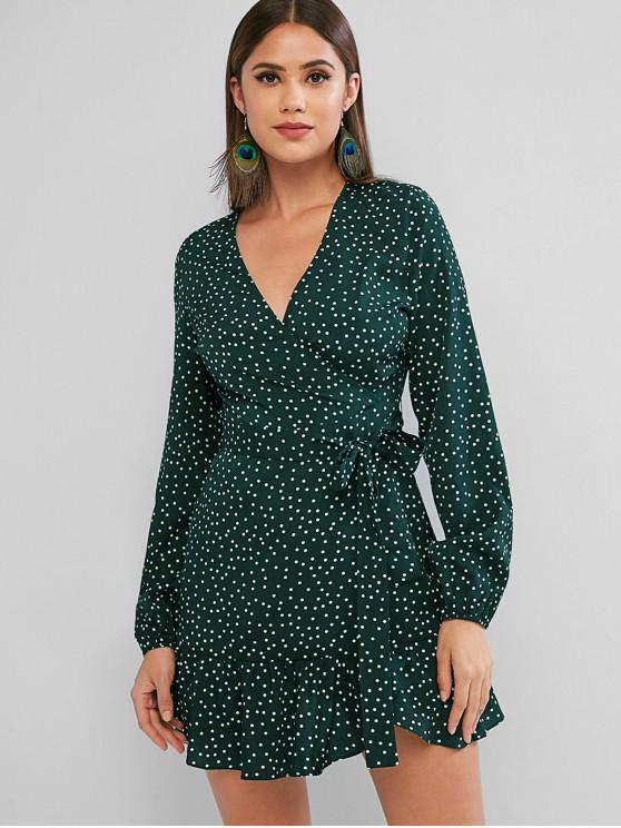 sale ZAFUL Long Sleeve Dotted Belted Mini Dress - MEDIUM SEA GREEN M