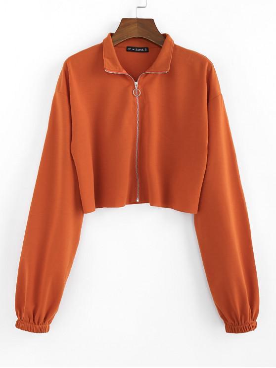 outfits ZAFUL Drop Shoulder Raw Hem Crop Jacket - CHESTNUT RED L