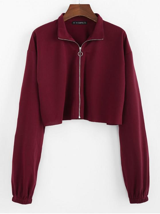 best ZAFUL Drop Shoulder Raw Hem Crop Jacket - RED WINE S