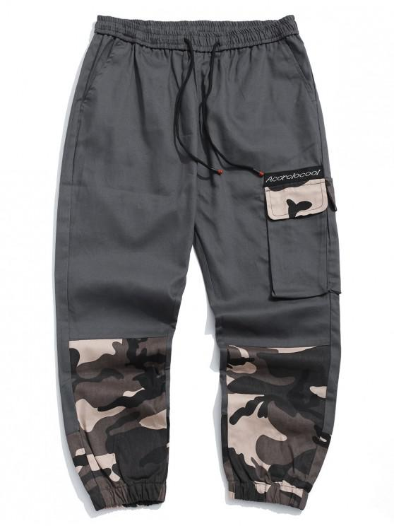 womens Camo Letter Printed Casual Jogger Pants - GRAY XL