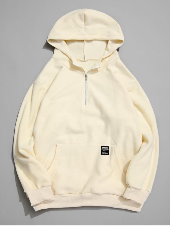 fancy Half Zipper Decoration Pouch Pocket Hoodie - WARM WHITE S