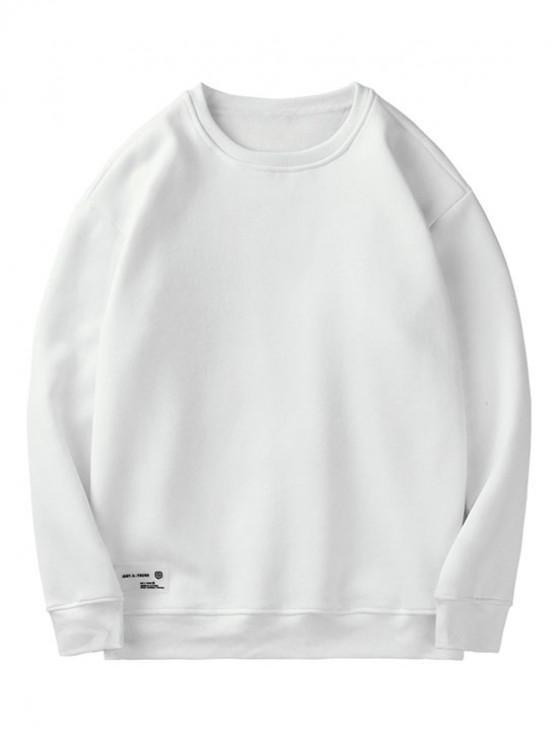 buy Solid Color Casual Fuzzy Sweatshirt - WHITE XL