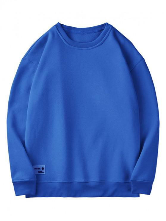 best Solid Color Casual Fuzzy Sweatshirt - BLUE M