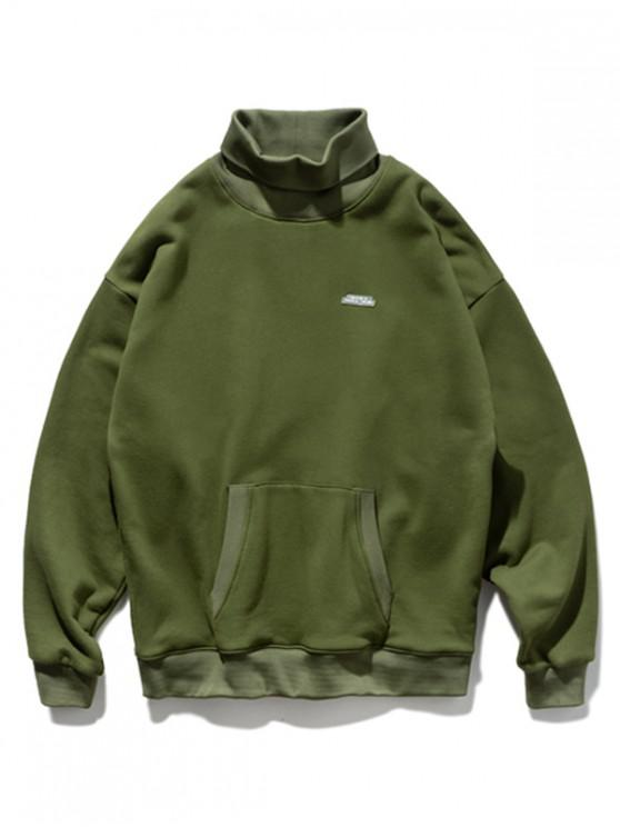 outfits Solid Turtleneck Front Pocket Sweatshirt - ARMY GREEN M
