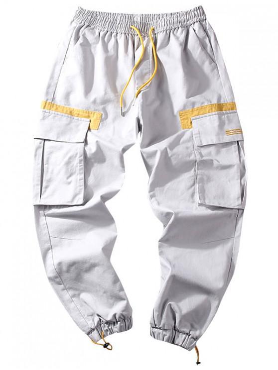 shops Letter Pattern Color Spliced Casual Jogger Pants - GRAY CLOUD XL