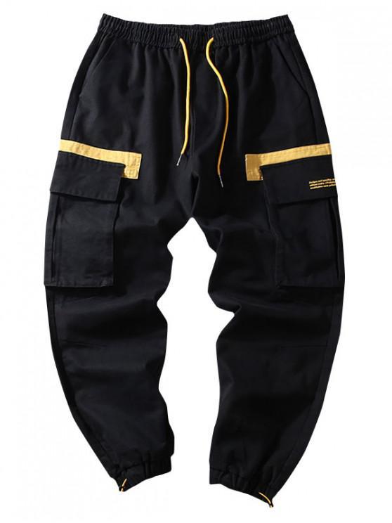 women's Letter Pattern Color Spliced Casual Jogger Pants - BLACK 3XL