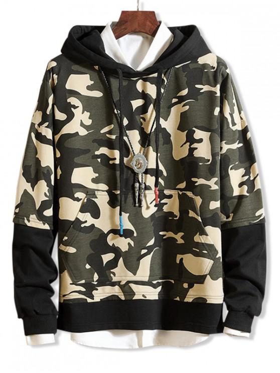 women Camouflage Print Colorblock Splicing Hoodie - CAMOUFLAGE GREEN L
