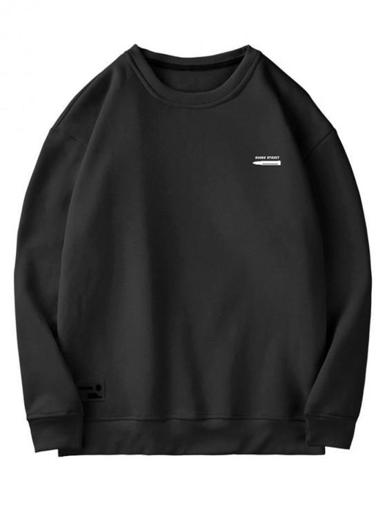 new Pen Letter Print Fuzzy Sweatshirt - BLACK 2XL