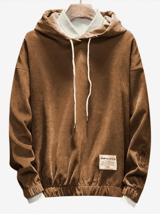 buy Casual Letter Pattern Cord Hoodie - COFFEE 3XL