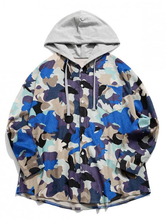 womens Camouflage Print Colorblock Splicing Button Hooded Jacket - BLUE M