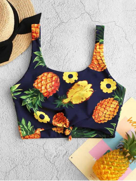 trendy ZAFUL Pineapple Knotted Padded Swim Top - MULTI-C 2XL