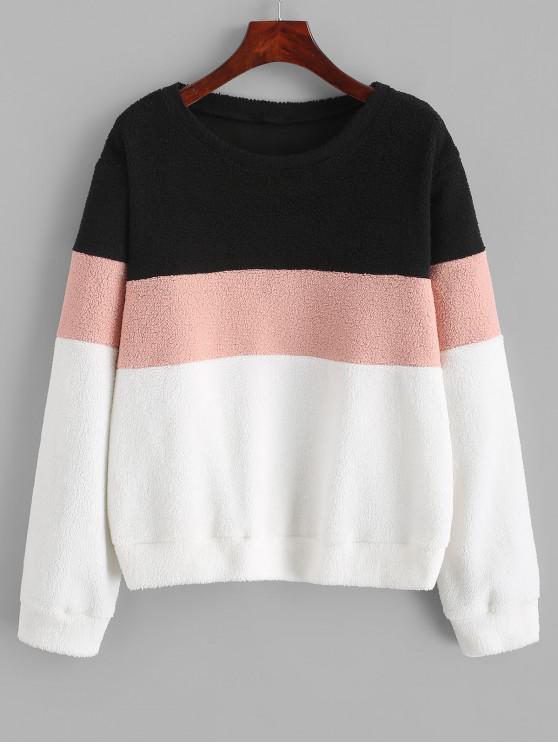 ZAFUL Sweat-shirt Fourré en Blocs de Couleure en Laine - Multi M