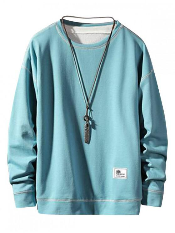 best Applique Stitching Pullover Basic Sweatshirt - MACAW BLUE GREEN S