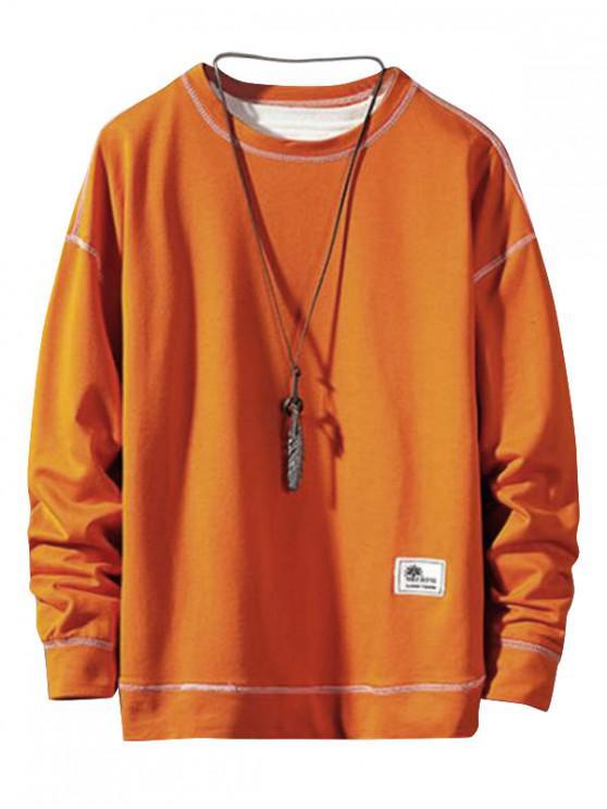 chic Applique Stitching Pullover Basic Sweatshirt - HALLOWEEN ORANGE M