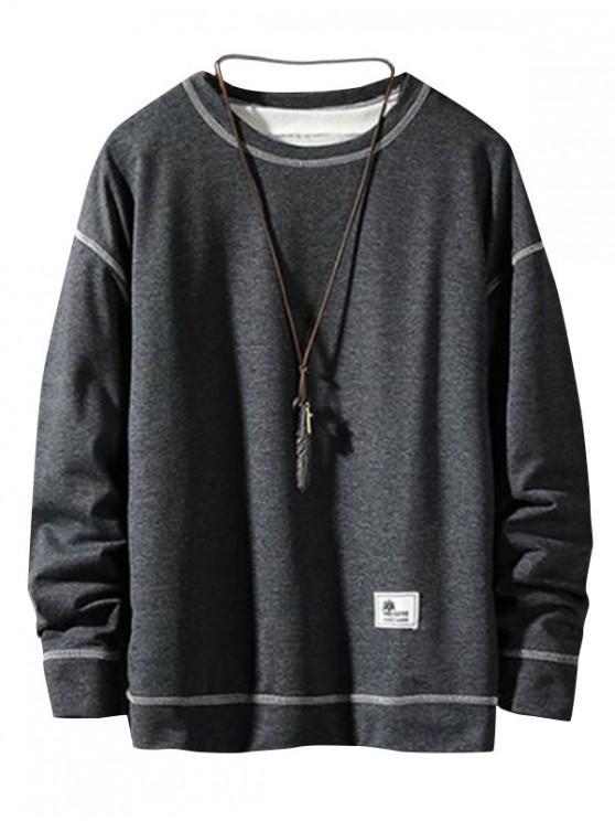 アップリケステッチプルオーバーベーシックスウェット - 曇った灰色 S