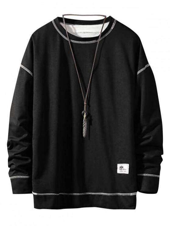 Аппликация Пуловер Основная Толстовка - Чёрный M